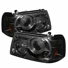 Ford 01-11 Ranger Smoke Dual Halo LED Projector Headlights Sport XL XLT FX4 STX