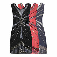 1920's Vtg Flapper Downton Gatsby Charleston Embellished Sequin Dress New 8 - 24