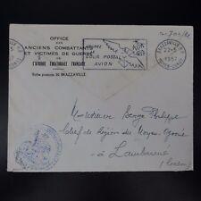 MOYEN CONGO LETTRE COVER CAD BRAZAVILLE 1957 CACHET MINISTÈRE DE LA GUERRE