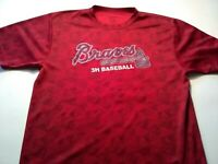 Augusta Mens Size Large Braves 3H Baseball Graphic T-shirt Short Sleeve Red