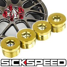 4 PC 24K GOLD FLAT CAP SET FOR SICKSPEED EXTENDED TUNER LUG NUTS WHEEL/RIM P2
