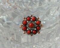 Bague marguerite ajustable en vermeil Corail Cristaux Style moderne NEUF Ring