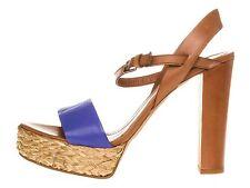 ORIG. BOSS ORANGE LUXUS High Heels Sandalen blau Gr.38 - Echtleder NEU! CHIC!