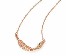 Rose Gold Twisted Feather Necklace