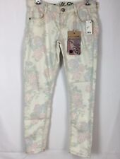 Vanilla  Star Skinny  Stretch Jeans Juniors Size 5 Floral Cream New NWT