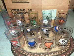Vintage MIB 1988 Set of 14 AFC Football Cooler Glass Tumblers RARE NFL Mobil