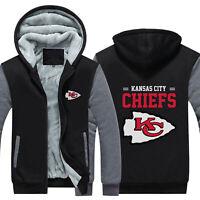 Kansas City Chiefs Hoodie Winter Fleece Coat Fans Warm Jacket Zip Up Sweatshirt