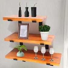 Floating Wall Shelves 3-Tiers Rustic Wood Shelf Kit w/ Metal Bracket 50kg