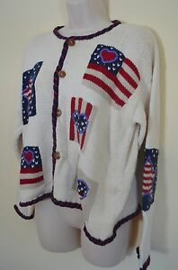 Norm Thompson Womens S Ivory Love Heart American Flag Patriot Chunky Sweater