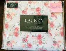 "Ralph Lauren *QUEEN* 4-pc Sheet Set ""ROMANTIC Cottage Roses"" Pink Floral new"