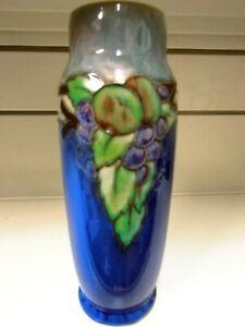 Art Deco Royal Doulton Stoneware Vase Winnie Bowstead Tube Lined Fruit Vine Des