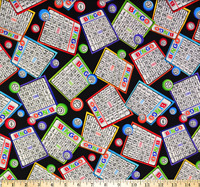 Bingo Tossed Bingo Cards Gail C5200 Timeless Treasures Cotton fabric by the yard