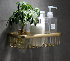 Brushed Gold Brass Bathroom Shower Caddy Organiser Corner Basket Storage Shelves