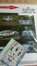 Decals 1/18  réf 501 Renault Clio s1600 Hugues Yorkshire Rally 2002