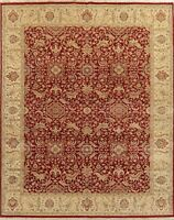 RED 8x10 Agra Oriental Area Rug All-Over Floral Traditional Hand-Knotted Wool
