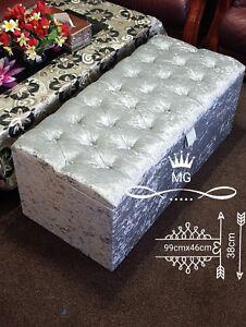 Luxury Chesterfield Ottoman Storage Box - Silver Crushed Velvet Diamante Design