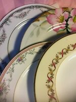 4 - Vintage Mismatched China Luncheon Plates Wedding Mad Hatter Shabby Pink #136