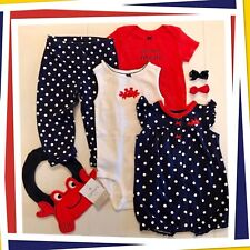 """NWOT 12-mo CARTERS """"Pinch Me I'm Cute"""" 7-pc Outfit 4th July Crabs Red White Blue"""
