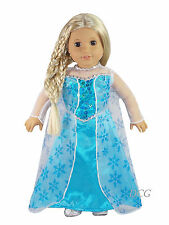 AFW FROZEN INSPIRED ELSA DRESS #267 TEAL SEQUIN SNOWFLAKE CAPE [NO SHOES] NEW