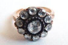 Bague marguerite ancienne en OR 9k et diamant Bijou ancien gold ring