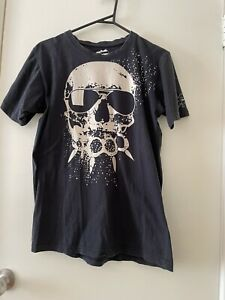 Bronski Size:L Mens Skull Printed T-shirt Navy Pre-owned Condition.