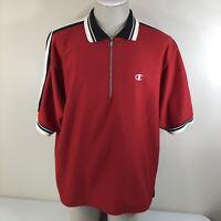 Vintage 90s CHAMPION 1/4 Zip Red Black White Shooting Shirt Men's XL Basketball