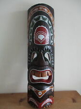 Fair Trade Hand Carved Wooden Tiki Mask Wall Hanging Design #6