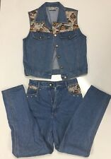 Vintage Denim Monique Jeans & Matching Vest 80's 2 Piece With Angels Design