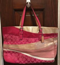 Women's Coach Limited Edition Pink Wave Suede Large Gallery Tote Purse Bag 1441!