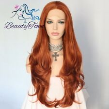 Orange Natural Long Wavy Hair Replacement Wig Synthetic Lace Front Wig For Women