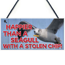 Happier Seagull Funny Nautical Seaside Theme Gift Hanging Plaque Bathroom Sign