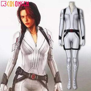 2020 Black Widow Costume Natasha Romanoff Cosplay Print Jumpsuit White Outfits