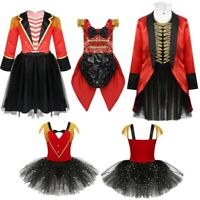 Girls Kids Ringmaster Tutu Dress Jacket Clothes Cosplay Party Costume Outfit Set