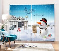 3D Snow town 55 Blockout Photo Curtain Printing Curtains Drapes Fabric Window AU