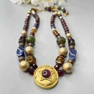 Liz Claiborne Signed LCI Gold Tone Multi Colored Acrylic Beaded Necklace Matte