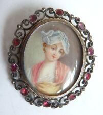 Broche 19e s ARGENT avec peinture miniature Greuze avec écrin silver painting