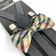Suspender and Bow Tie Adults Men Dotted Rainbow Plaid Formal Wear Accessories