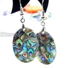 SALE Genuine 18*25mm Oval Natural Multicolor Abalone Shell Dangle earring-e327