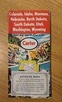Vintage Carter Northwest Road Map Colorado Idaho Montana NE ND OR SD UT WA WY