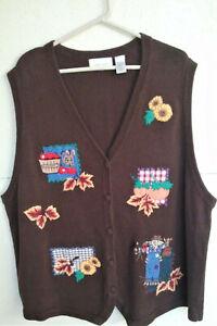 Womans' Festive Autumn Themed Vest - 3x