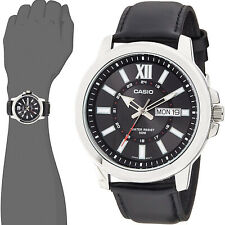 Casio MTP-X100L-1A Men's XL 52mm Black Analog Watch Black Leather Date Date New