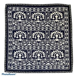 Pottery Barn Tapestry Table Throw 50x50 Navy Blue Embroidered Cotton India