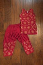 Girl's Red Gold Embroidered Shalwar Kameez Pakistani Indian - Sz. 20 EUC