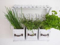 Shabby Chic Vintage Wall Garden Planter Pots Herb Window Box Basket Wood & Metal