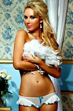 White and Turquoise Blue Sheer Panty with Ruffle Lingerie Bride Bridal 7618