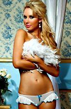 White Blue Panty Lingerie Sheer Bow Ruffle Bridal Key Hole One Size 7618