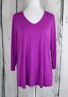 Slinky Brand Women Tunic Top Blouse Shirt Pullover JerseyStretch VNeck Purple XS