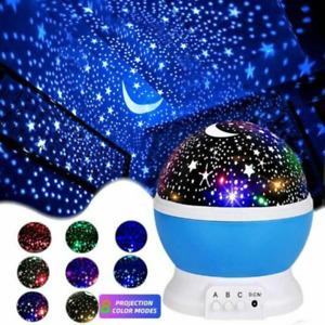 LED Night Lights Rotating Projector Starry Star Sky Light Baby Kids Bedside Lamp