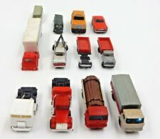 LOT OF 12 VINTAGE N-SCALE TRUCKS AND CARS W/ SEMI TOW TRUCK VW BUS LOG TRUCK