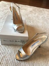 NIB Manolo Blahnik C Thymesli Silver Patent Slingbacks Size 36